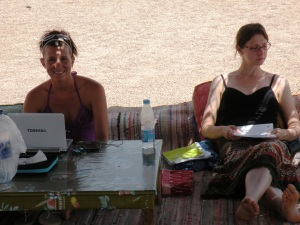 Taking field notes at the Red Sea in 2010.