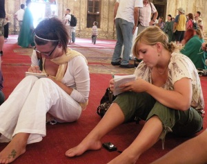 Students taking ethnographic field notes in the Muhammed Ali mosque in Cairo, 2010.