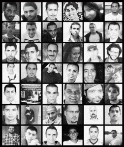A poster of some of the martyrs of the Egyptian revolution.