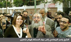 This widely circulated image juxtaposing actress Ilham Shaheen with a salafi Sheykh is a fake--but that's all the more reason for analyzing it.